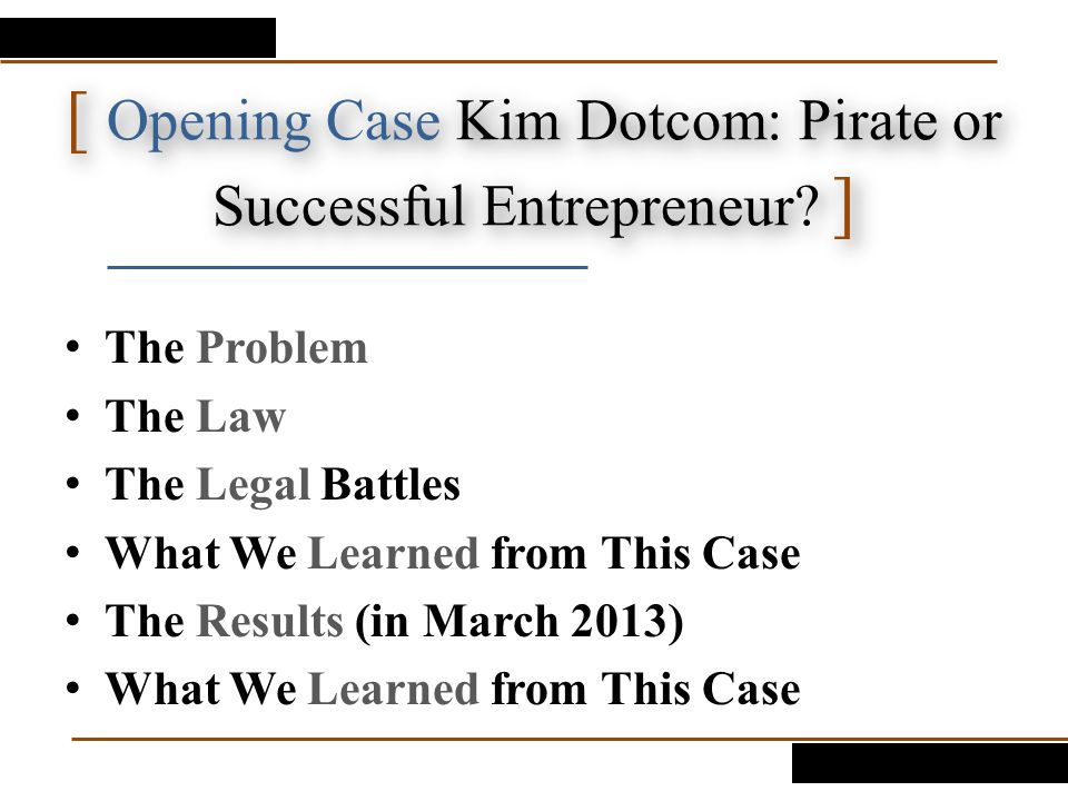 [ Opening Case Kim Dotcom: Pirate or Successful Entrepreneur ]